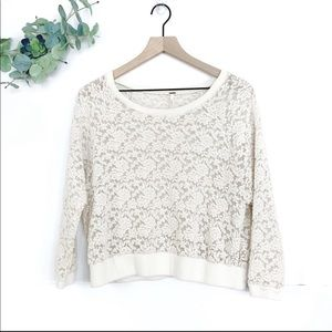 """Free People Ivory """"All Over Lace"""" Floral Pullover"""